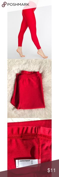 American Apparel Shiny Nylon Tricot Leggings - Red SALE!! LOWEST PRICE, NO OFFERS PLEASE. GUC, lightly worn, some wash/wear, sold AS-IS. ✖️NO TRADES • NO PP • NO MERC@RI  ✔️ADD'L INFO/PICS BY REQUEST ✔️POSTED = AVAILABLE ✔BUNDLE 2+ FOR 10% DISCOUNT American Apparel Pants Leggings