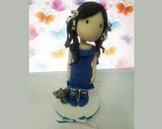 Girl handmade cake topper polymer (cold porcelain) by RUSTIKOcakeDecoratio on Etsy