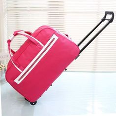 Large-Capacity Collapsible Waterproof Wheel Trolley Contrast Color Travel Luggage 2 Colors