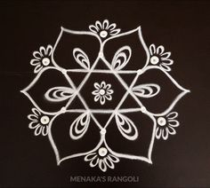 Easy Kolam Design For Ganesha Festival Indian Rangoli Designs, Simple Rangoli Designs Images, Rangoli Designs Latest, Rangoli Border Designs, Rangoli Patterns, Rangoli Designs With Dots, Rangoli With Dots, Beautiful Rangoli Designs, Padi Kolam