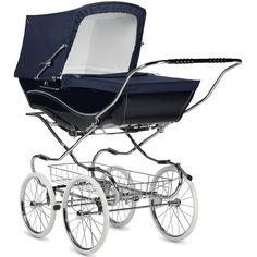 Kensington classic pram - Navy The Kensington pram is perfect for parents who prefer a traditional pram, but value the convenience of a detachable body and folding chassis. Each Kensington pram is handmade in Yorkshire, by Silver Cross craftsmen. Pram Stroller, Baby Strollers, Best Prams, Silver Cross Prams, Vintage Pram, Vintage Stroller, Prams And Pushchairs, Baby Buggy, Chairs