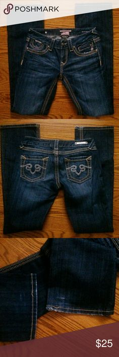 ReRock for Express Barely boot Sz. 2R Bought these jeans from someone hoping they wouldn't be too long but they are. Selling these to get me a size short in this same jeans. These jeans are in great condition but do have some wear on the hem. Pic is posted. Sz. 2R Express Pants Boot Cut & Flare