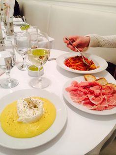 Burrata and polenta at Bar Italia, NYC- divine combination