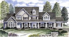 House Plan 94176   Country Plan with 3096 Sq. Ft., 4 Bedrooms, 3 Bathrooms, 3 Car Garage at family home plans