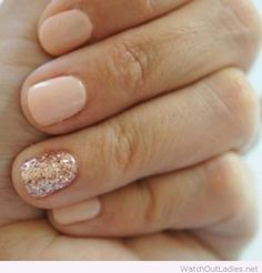 Nude nails with glitter accent