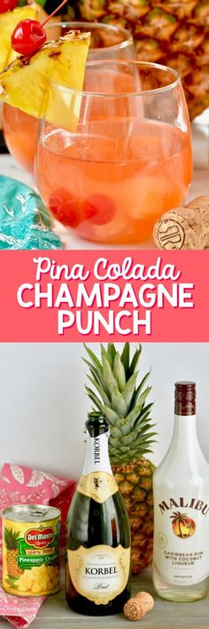 This Pina Colada Rum Punch is the perfect easy recipe for your parties! With only FOUR ingredients, you can make this in about five minutes!