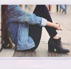 Denim jacket, and high chelsea boots, black jeans. Classic outfit, denim outfit.