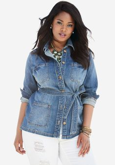 7667c0401c Plus Size Belted Denim Jacket Cotton Spandex
