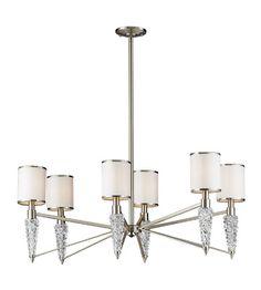 550 ELK Lighting Zanzabar 6 Light Chandelier in Satin Nickel 17127/6 #lightingnewyork #lny #lighting
