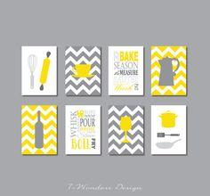 Kitchen Art Prints - Utensils, Appliances, Typography, Coffee, Wine - Set of (8) 4 x 6 OR 5 x 7 // Yellow and Gray // Modern Kitchen Decor