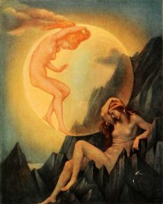 Evelyn De Morgan - Sleeping Earth and Wakening Moon