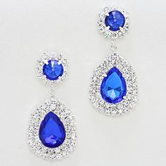 "Little Girls Sapphire Earrings  • Color : Blue, Silver, Clear • Size : 1"" W, 2 1/8"" L • Rhinestone Droplet Earrings COMES IN TONS OF COLORS"