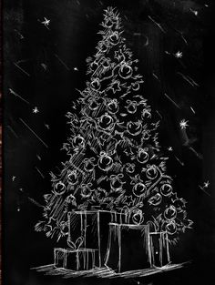 20 alternative Christmas trees for homes with little space – Christmas Ideas Blackboard Art, Chalkboard Drawings, Chalkboard Designs, Christmas Doodles, Christmas Drawing, Christmas Paintings, Christmas Makes, Christmas Art, Christmas Ideas