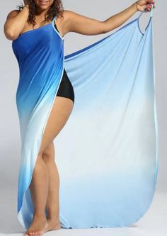 Ombre Plus Size Wrap Cover Up Maxi Dress - Blue - Olivia Maxi Dresses Maxi Wrap Dress, Swim Dress, Sheath Dress, Plus Size Dresses, Blue Dresses, Floral Dresses, Cheap Dresses, Maxi Dresses, Cotton Dresses