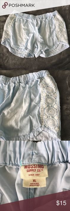 Blue Flowy Lacey Shorts Light blue faux denim shorts. Flowy and comfortable. Elastic waistband, no button/zipper. Crochet detailing on sides. Size extra large by Mossimo Supply Co. Mossimo Supply Co. Shorts