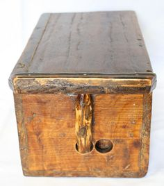 Rare Antique Korean Wood Box Bellows w/ Beautiful Grain