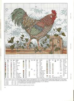 rooster, cockerel Rooster Cross Stitch, Chicken Cross Stitch, Cross Stitch Horse, Cross Stitch Kitchen, Cross Stitch Animals, Cross Stitch Charts, Cross Stitch Designs, Cross Stitch Patterns, Cross Stitching