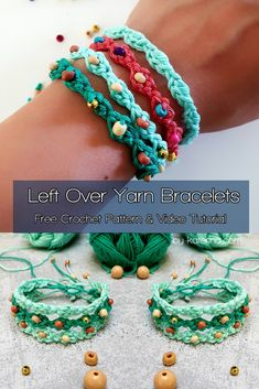 Left Over Yarn Bracelets. Crochet Bracelet Pattern, Crochet Jewelry Patterns, Crochet Beaded Bracelets, Bead Crochet, Crochet Accessories, Knitting Patterns, Crochet Earrings, How To Crochet Jewelry, Beaded Necklaces