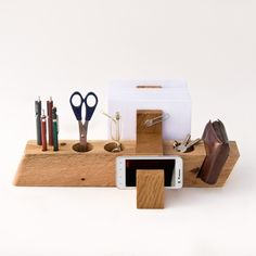 Large Desk Organizer Wood Office Organizer AUGUST #large-desk-organizer #office-organizer #wood-desk-organizer