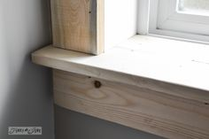 Make a farmhouse window - add window trim to beef up a plain window with no miter cuts in sight! I want these in our house! Home Renovation, Home Remodeling, Interior Window Trim, Window Sill Trim, Window Trims, Kitchen Window Sill, Window Ledge, Moldings And Trim, Farmhouse Windows