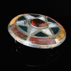 ANTIQUE SCOTTISH AGATE SILVER LARGE TARGET STAR BROOCH CIRCA 1860