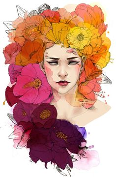 """Mixed Media Art Print Full Color Illustration Flowers Fashion Illustration - gorgeous colours! 11x17"""" print only $18!"""
