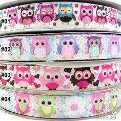 "7/8""22mm colorful cute owl grosgrain ribbon craft bow 5/100yards 4 design U pick"