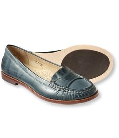 Love the classic look of these blue penny loafers.