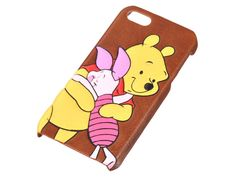 Winnie the Pooh & Piglet iPhone 5 5S Fake Leather Cover Case Disney Store JAPAN