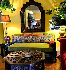 Beautiful Indian Daybed, Pillow Made From Long Vintage Suzani, Moucharabi Table    Global Nomad Interiors