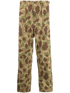 Olive/island green cotton camouflage print trousers from UNIVERSAL WORKS featuring camouflage print, two side flap pockets, two side inset pockets, belt loops, front button and zip fastening and straight leg. Universal Works, Printed Trousers, Green Cotton, Front Button, Army Green, Women Wear, Fashion Outfits, Casual, How To Wear