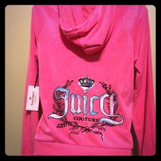 Knockout pink Terry towel twisted rib trim hoodie This a NWOT juicy Couture hooded . Has a few imperfections in color of material. Not noticeable except in some light . Has pouch pockets and J silver letter on zipper. Has a hood with braided twisted trim design around hood . Juicy Couture Jackets & Coats