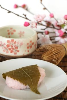 Sakura mochi is a typical springtime dessert in Japan.. and yes, you actually eat the cherry blossom leaf!