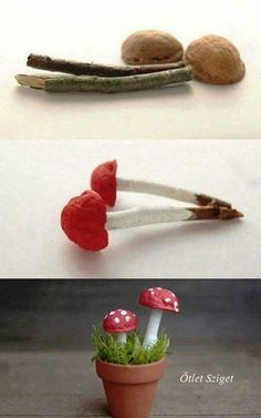 Toadstool The Effective Pictures We Offer You About easy craft bookmarks A quality picture can tell Autumn Crafts, Nature Crafts, Christmas Crafts, Nature Decor, Christmas Ornaments, Garden Crafts, Garden Projects, Garden Art, Garden Ideas