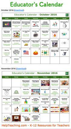 US Educator's Calendar 2016-2017