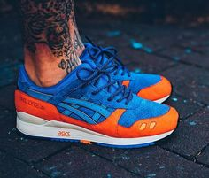 1/2 of the Ronnie fieg east coast project release: asics Gel lyte III X New York Knicks influenced.