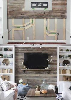 Wall and Pallet Wall: 30 Beautiful DIY Wood Wall Ideas 30 best DIY shiplap wall and pallet wall tutorials and beautiful ideas for every room. Plus alternative methods to get the wood wall look easily! Diy Pallet Wall, Diy Wood Wall, Pallet Walls, Diy Pallet Projects, Home Projects, Wood Walls, Pallet Ideas For Home, Pallet Wall Bedroom, Faux Wood Wall
