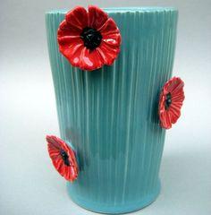 Pinstriped Poppies Vase in Robin's Egg Blue - Handmade Stoneware Pottery. $72.00, via Etsy.