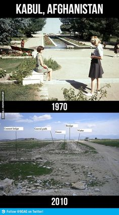 Kabul, Afghanistan: 1970 vs 2010 -- Wonder if this is true...