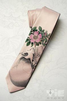 Men's halloween wedding necktie. Dia de los muertos by tiestory