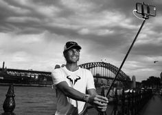 (EDITORS NOTE: Image has been converted to Black & White) Rafael Nadal poses for a 'Selfie' during the FAST4Tennis media opportunity at Circular Quay on January 11, 2016 in Sydney, Australia. (Photo by Brendon Thorne/Getty Images)