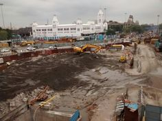 Completely white washed in the background. project construction in the foreground. Picture taken after lavish rains in November 2015 Chennai Metro, November 2015, Location History, Paris Skyline, Street View, Construction, Travel, Building, Viajes