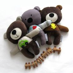 Bear teddy rag doll toy softie plushie baby toddler child safe friendly striped gray grey red heart by meilingerzita
