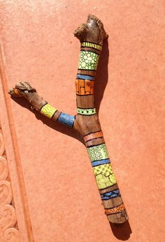Painted stick with Zentangles