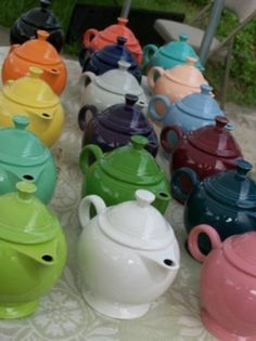 Fiestaware teapots.  I have a yellow one.