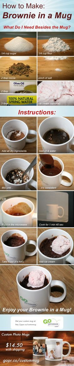 How to Make Brownie in a Mug - These are great detailed instructions! You can make a tasty snack or dessert in your microwave, great for college students in their dorm room