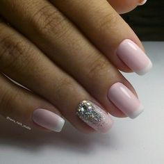 Delicate french manicure, Evening dress nails, French manicure with rhinestones, Gentle french nails, Nails with ornament, Nails with rhinestones ideas, ring finger nails, Summer french nails