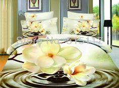 Pintura a óleo da cama conjunto/lençóis capa edredon roupas de cama quente 100% algodão branco lírio t&ec...