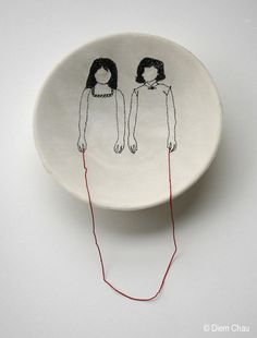 Diem Chau makes really lovely sculptures of dinnerware and embroidery. china, silk and silk thread