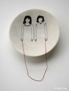 Sisters / Porcelain bowl, silk, thread. Fragile art by Diem Chau